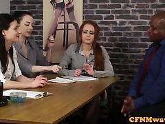 CFNM fetish babes tugging merzet fils cock