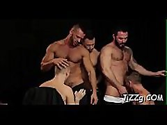 Blokes are sharing excitement in anal group scenes at the club