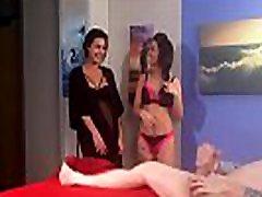 Cute femdoms in lingerie humiliate sub guy