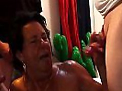 Granny fucks in gang bang