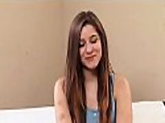Charming teen is rubbing her slit before giving wild blowjob
