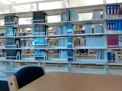 Amateur ebony teen naked in library public