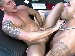 Men.com - Hot ripped guy drills colleague in office