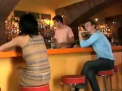 young milky girl bisex in a bar