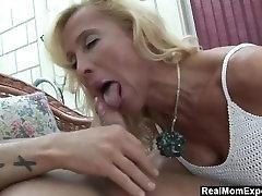 Blonde mature slut jizzed all over her tits