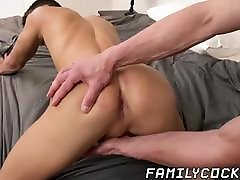 Handsome daddy barebacks and creampies his stepson