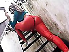 Big black transex and Round Ass Babe In Tight Red Spandex