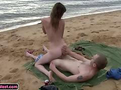 Skinny amateur girl fucked on the beach
