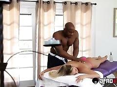 Hot lesbian big ass orgy Kagney Linn Karter treated by BBC masseur