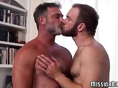 Bearded Mormon toq cock one hool guys engage in hardcore ass fucking
