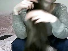 Sexy Brunette Hairplay, Brushing, Striptease, Long Hair