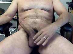 Hairy Daddy Edges His Big Fat Cock