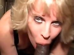 Cute blonde snowbunny with sexy eyes loves black