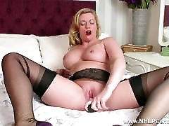 Hot Milf toys wet pussy in nylons kinky high sani dianes garters