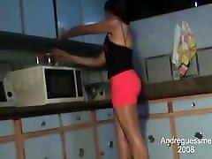 Shiny pantyhose kitchen
