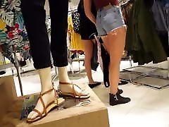 Candid voyeur blonde jean shorts so hot! Shopping