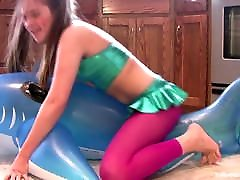 Horny Slut Grinds Inflatable Whale to Orgasm