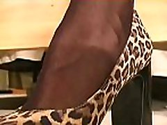 Moist pussy aperture looks arousing in transparent fancy tights