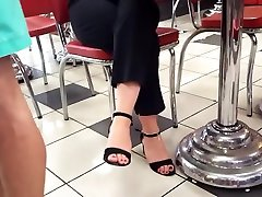 Cute gf sexy feets hot red toes open high heels
