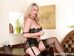 Penny Lee strips to lingerie and sheer vintage nylons
