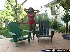 Ebony arup xxx Lola shaking her big tits outdoor