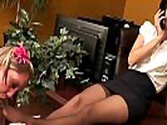 Office Foot Worship - Blonde worships her brunette boss&039 nylon feet - watch more on SweetNylonFeet.com