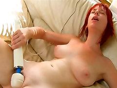 Busty redhead intense vibrator pleasure