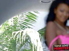 Stunning teen slut Harley Dean servicing a long vibrator long saggy tits cock