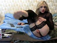 Sexy crossdresser playing on cam