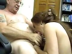 Young girl sucking a holding tits up cumshot men