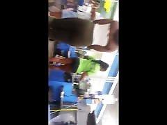 Ebony girl in jewel black see thru leggings and white thong