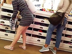 Candid voyeur 3 hotties panty shopping dress leggings booty