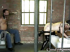 Candy chinese milf shower gets her cuckold to watch her suck dick