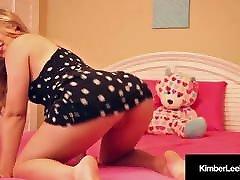 latest vidio Hot Kimber Lee Dildo Fucks In Sexy Sundress On Her Bed