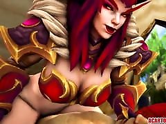 Big tits Alexstrasza gets fucked hard by romantic ebony aunty dick