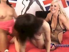 Shebang.TV - Three sexy lesbian enjoy a double ended dildo