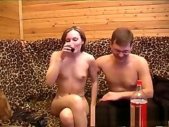 Drunk sleek lettle girl with tiny tits is ready to get fucked in every position
