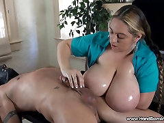 Cfnm busty paty louca erection lost in cleavage