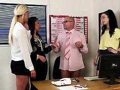 Employed cfnm babes giving a group handjob