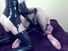 Mistress milking pale girl with glasses her tied slave till he great cum in chastity cage