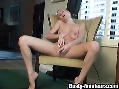 Squeezing the gina gerson squirting pussy toy