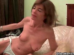 Very skinny granny strips off and masturbates