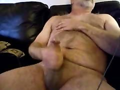 Hairy daddy bear cumming with his big cock