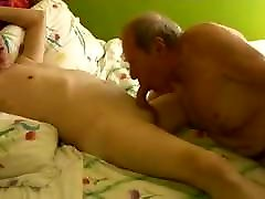 Two gay old sex pet 3sum grandpa playing in the bed