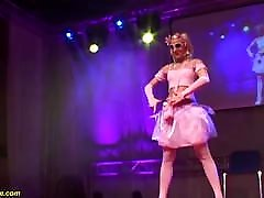 skinny tube mean facesitting doll dancing naked on stage