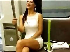 Brunette goes on subway without panties