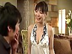 Sexy asian mom in heels gets in nature&039s garb and fucked on couch