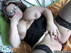 Chubby and busty wrapped bondage anal housewife in black stockings