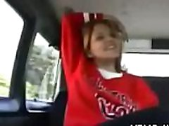 Juvenile bitch fucks in a car without feeling exhausted