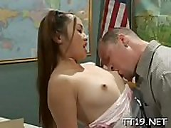 Sexy schoolgirl gets down on knees and gives hot pov oral